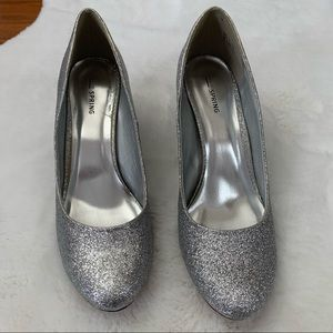Call it Spring Sliver Glitter Heels size 11
